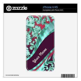 Teal green & magenta damask skin for iPhone 4