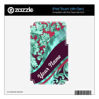 Teal green & magenta damask skin for iPod touch 4G