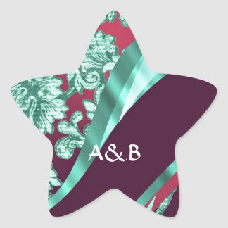 Teal green & magenta damask star sticker