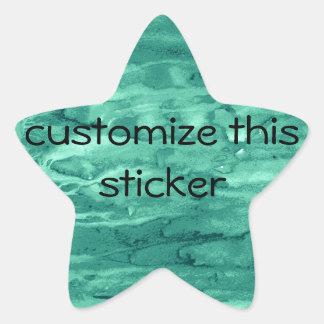 Teal Green Marbled Swirls Painted Background Star Sticker