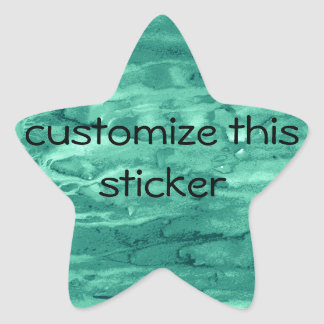 Teal Green Marbled Swirls Painted Background Star Stickers