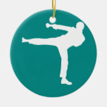 Teal Green Martial Arts Double-Sided Ceramic Round Christmas Ornament