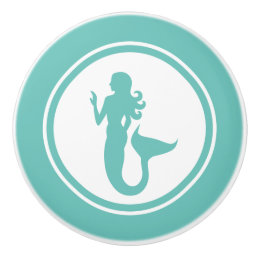 Teal Green Mermaid Marine Creature ceramic knob