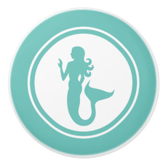 Teal Green Mermaid Marine Creature ceramic knob