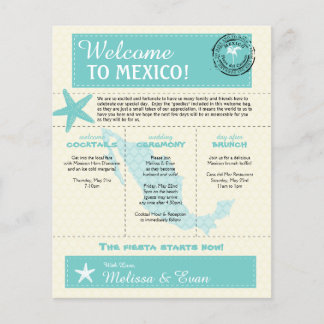 Teal Green Mexico Wedding Welcome Letter