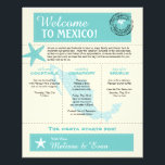 """Teal Green Mexico Wedding Welcome Letter Flyer<br><div class=""""desc"""">Have fun with your destination themed wedding. Palm Tree, Starfish and Map of Mexico in colors of Colors are Teal Green, Light Golden Yellow and White. Customize more text on the back if you need additional space. If the color scheme is not what you wanted please email paula@labellarue.com BEFORE YOU...</div>"""