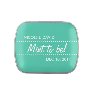 Teal green mint to be wedding celebration favor candy tins