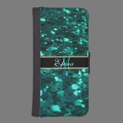 Teal Green Monogram Combination Wallet Case iPhone 5 Wallets