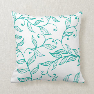 Teal Green Natural Vine Decorative Line Art Throw Pillow