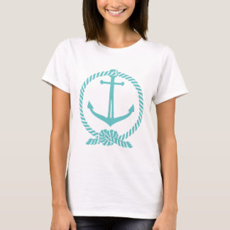 Teal-Green Nautical Boat Anchor With Knot T-Shirt