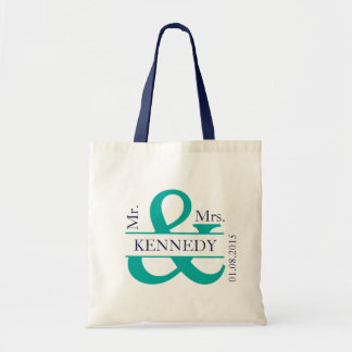 Teal Green Navy Blue Newly Weds Wedding Favor Budget Tote Bag