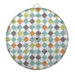 Teal Green Orange Taupe Classic Argyle Pattern Dart Boards