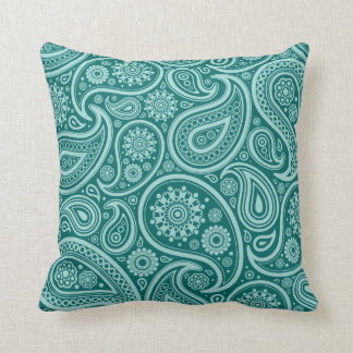 Teal Green Paisley Pattern Pillow