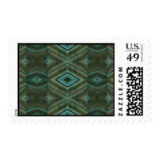teal green pattern postage