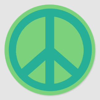 Teal Green Peace Sign Products Classic Round Sticker