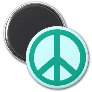 Teal Green Peace Sign Products 2 Inch Round Magnet