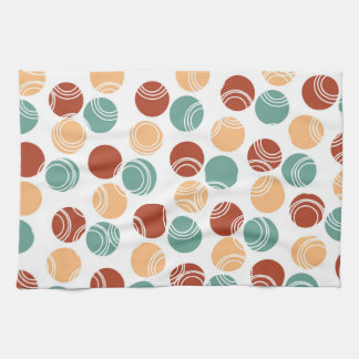 Teal Green, Peach, Burnt Orange Polka Dots Kitchen Towels