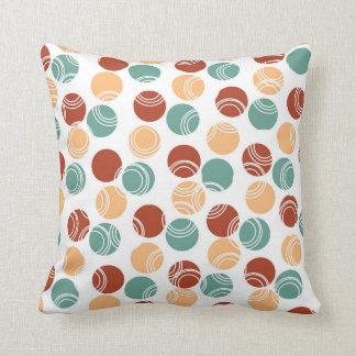 Teal Green, Peach, Burnt Orange Polka Dots Throw Pillows