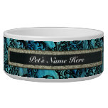 Teal Green Pet Dish with Gold and Black Nameplate Dog Water Bowls