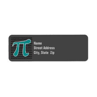 Teal Green Pi symbol Custom Return Address Labels