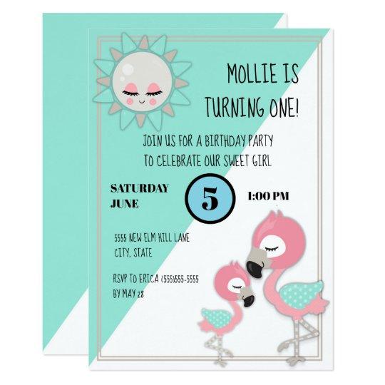 Teal Green Pink Flamingo Baby Girl 1st Birthday Invitation
