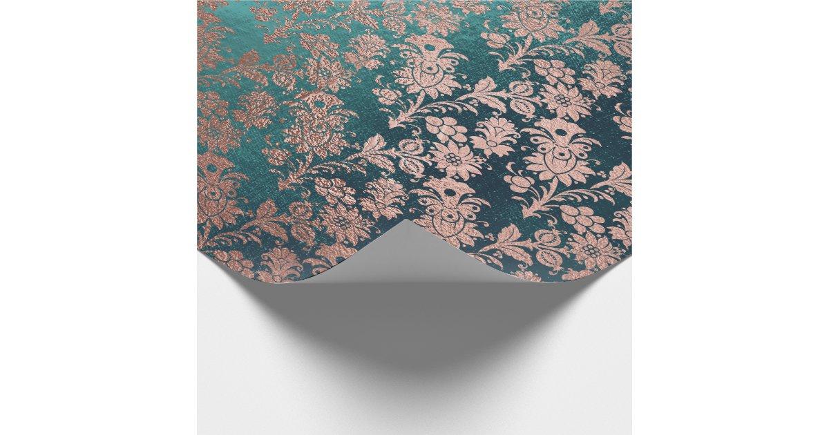Teal Green Pink Rose Gold Powder Faux Blush Floral