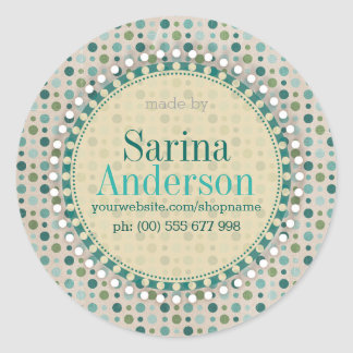 Teal Green Polka Dot Pattern Made By Labels Classic Round Sticker
