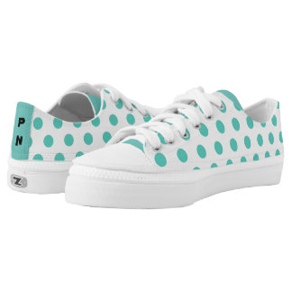 Teal / Green polkadots with your initials Low-Top Sneakers