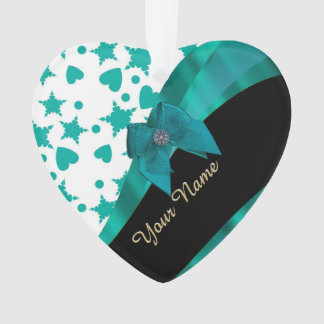 Teal green pretty spotty patterned personalized