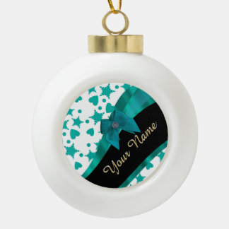 Teal green pretty spotty patterned personalized ceramic ball christmas ornament