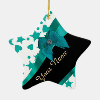 Teal green pretty spotty patterned personalized ceramic ornament