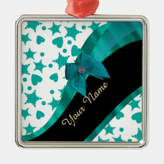 Teal green pretty spotty patterned personalized metal ornament