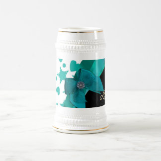 Teal green pretty spotty patterned personalized 18 oz beer stein
