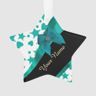 Teal green pretty spotty patterned personalized ornament