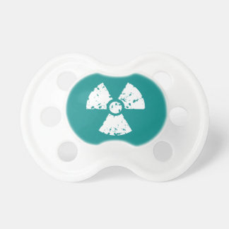 Teal Green Radioactive symbol Pacifier