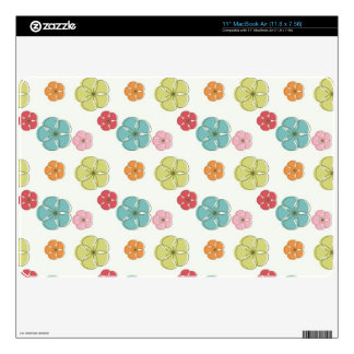 Teal Green, Red, Pink, Orange Colorful Flowers Skins For The MacBook Air
