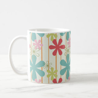 Teal Green Red Pink Tropical Retro Flowers Mugs