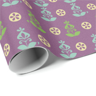 Teal Green Retro Flower Wrapping Paper Template