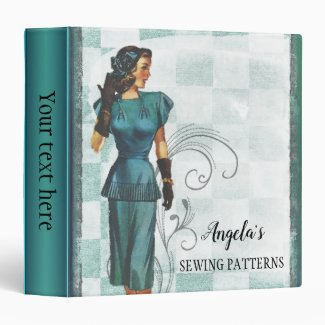 Teal Green Retro Sewing Pattern Binder