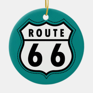 Teal Green Route 66 sign Double-Sided Ceramic Round Christmas Ornament