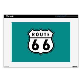 Teal Green Route 66 sign Decals For Laptops