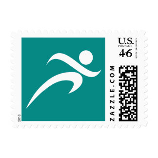 Teal Green Running Postage Stamps