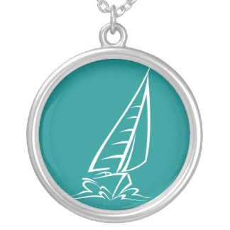 Teal Green Sailing Silver Plated Necklace