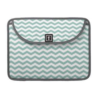 Teal Green, Seafoam & White Chevron Stripes Sleeve For MacBooks