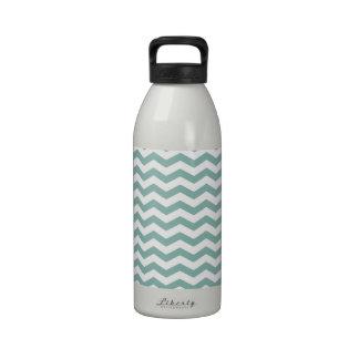 Teal Green, Seafoam & White Chevron Stripes Drinking Bottle