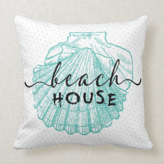 teal-green Seashell Beach House Typography Design Throw Pillow