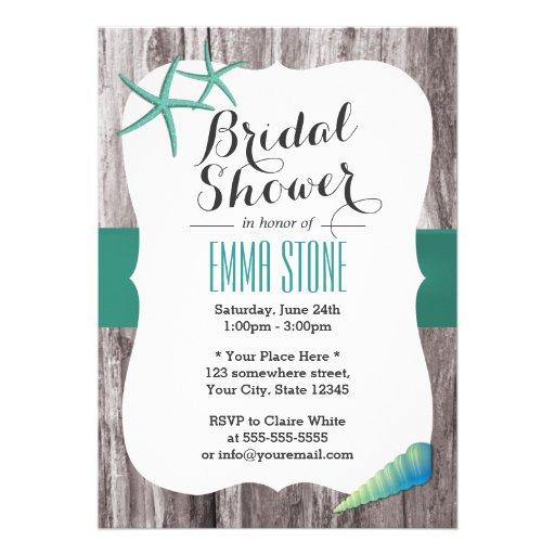Teal Green Seashell & Starfish Beach Bridal Shower Cards