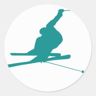 Teal Green Snow Ski Classic Round Sticker
