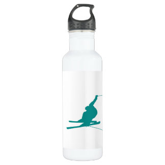 Teal Green Snow Ski Water Bottle