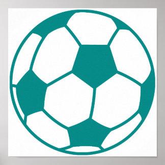 Teal Green Soccer Ball Poster